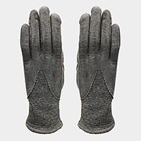 Fleece lined victorian half faux suede smart gloves