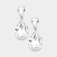 Marquise Double Crystal Teardrop Evening Earrings