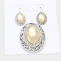 Crystal trim two tone oval metal pendant set