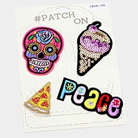 Day of the dead skull _ Sequin & embroidered patch set