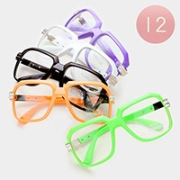 12 Pairs - solid square frame clear lens sunglasses