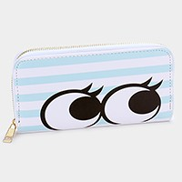 Stripe big eyes zip around wallet