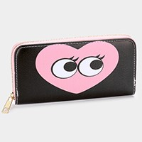 Heart big eyes zip around wallet