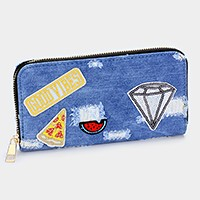 Embroidered diamond _ Destroyed denim patch zip around wallet