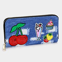 Sequin cherry _ Destroyed denim patch zip around wallet