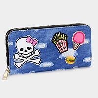 Embroidered skull _ Destroyed denim patch zip around wallet