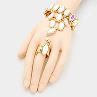 Crystal rhinestone stretch hand chain bracelet
