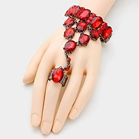 Oval crystal rhinestone stretch hand chain bracelet