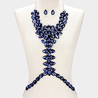 Felt & faux leather back crystal rhinestone teardrop body chain necklace