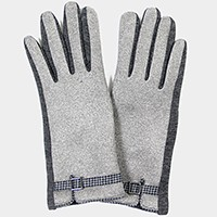 Fleece lined houndstooth buckle detail smart gloves