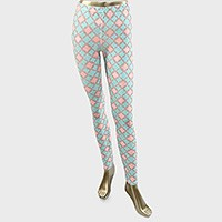 Moroccan Clover Pattern Polyester Leggings