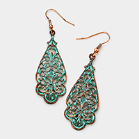Vintage metal cut out filigree earrings