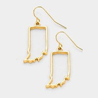 INDIANA MAP OUTLINE DROP EARRINGS