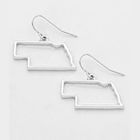 NEBRASKA MAP OUTLINE DROP EARRINGS