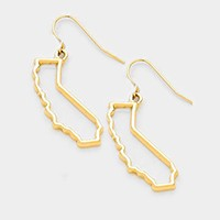 CALIFORNIA MAP OUTLINE DROP EARRINGS