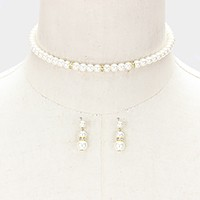 Crystal detail pearl strand choker necklace