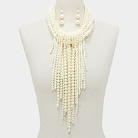 Multi-strand pearl fringe bib necklace
