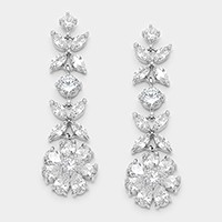 Crystal cubic zirconia CZ flower evening earrings