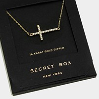 14 K gold dipped crystal cross pendant necklace with secret box