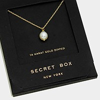 14 K gold dipped pearl pendant necklace with secret box
