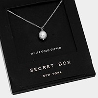 White gold dipped pearl pendant necklace with secret box