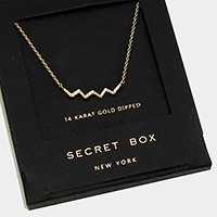 14 K gold dipped crystal chevron pendant necklace with secret box