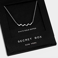 White gold dipped crystal chevron pendant necklace with secret box