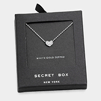 White gold dipped crystal heart pendant necklace with secret box