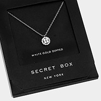 White gold dipped crystal pendant necklace with secret box
