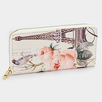 Eiffel tower & flower graphic zip around wallet