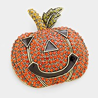 Crystal pave Halloween pumpkin brooch