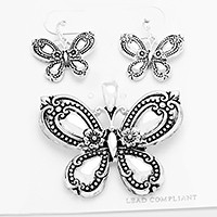 Metal butterfly pendant set