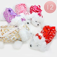 12 PCS - Sequin Dog Doll Tote Bags with Straps