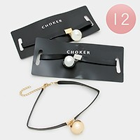 12 PCS - metal & pearl ball pendant faux leather choker necklaces