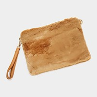 Furry clutch bag with strap