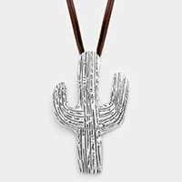 Metal cactus pendant long faux leather necklace