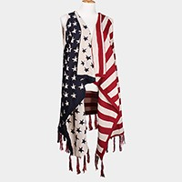 American flag hooded vest with tassel