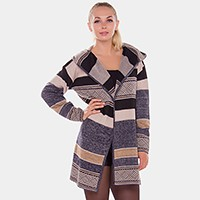Stripe hooded cardigan sweater
