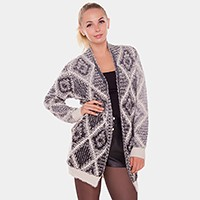 Diamond pattern ombre cardigan