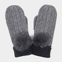 Angora pom pom two tone knit mitten gloves