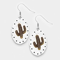 Two tone metal cactus disc earrings