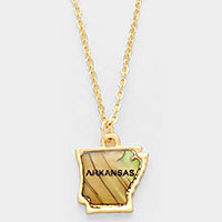 Arkansas state map abalone pendant necklace