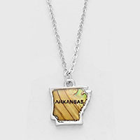 ARKANSAS MAP ABALONE SHELL PENDANT NECKLACE