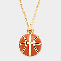 Enamel Basketball Ball Pendant Necklace