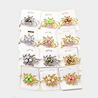12 PCS - crystal & pearl leaf booches