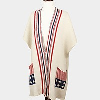 American flag knit vest with side pockets
