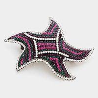 Crystal rhinestone embellished starfish hair barrette
