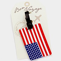 American flag _ Bon Voyage luggage tag