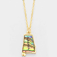 Alabama state map abalone pendant necklace