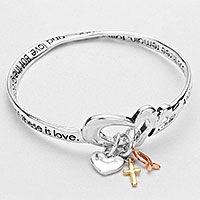 TRI-TONE CROSS CHARM HEART BANGLE BRACELET